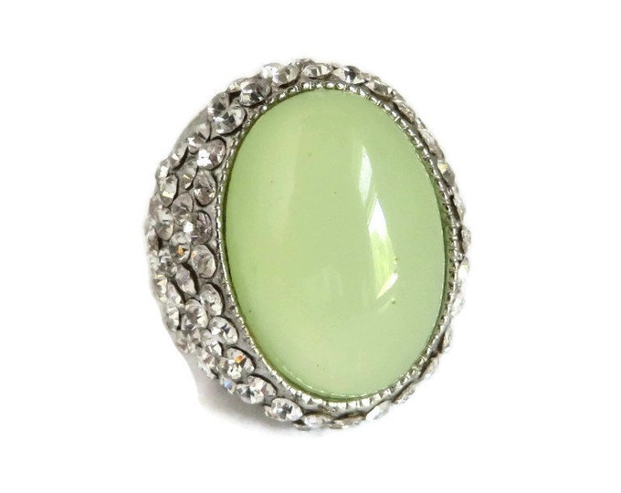 Vintage Green Cabochon Rhinestone Ring, Silver Tone Statement Ring, Size 7