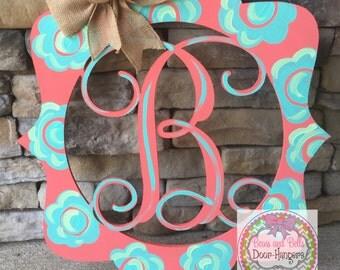 monogram door hanger, Monogram Door sign, initial door hanger, wedding door decor, wedding decor, wedding door hanger, door hangers