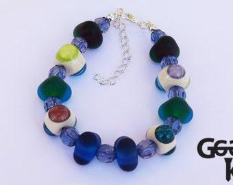 SALE Geometric Fun Bracelet, lampwork bracelet, bead bracelet