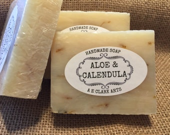 Aloe and Calendula Soap, Homemade, Aloe Glycerin Soap, Vegan Soap