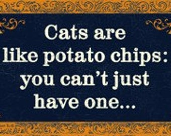 Cats & Potato Chips Magnet by Cat in the Tub