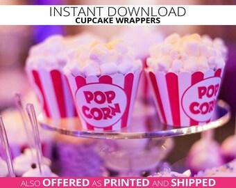 Popcorn Cupcake Wrappers, Circus Birthday, Carnival Birthday, Cupcake Decorations,Popcorn, Movie Night, Cinema, Red Stripe, INSTANT DOWNLOAD