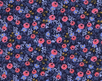 Rosa in Navy by Rifle Paper Co. from the Les Fleurs collection for Cotton and Steel
