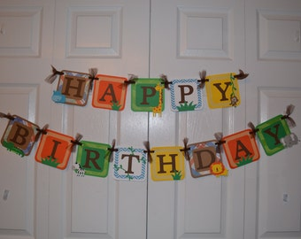 Jungle Happy Birthday Banner Deluxe / Safari Happy Birthday Banner - Birthday Party - NAME option - Sign