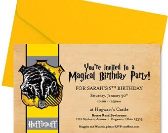 Harry Potter Birthday Invitation - Hufflepuff Birthday Invitation - Harry Potter Invite - Hufflepuff Invite - Hogwarts Invite - Personalized