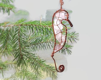 Sea Glass Seahorse Christmas Ornament,  Beach Themed Home Decor, Sea Glass Sun Catcher