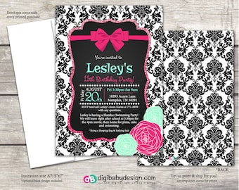 Birthday Party Invitation girls damask chalkboard pink teal flowers and bows, custom digital or printed files