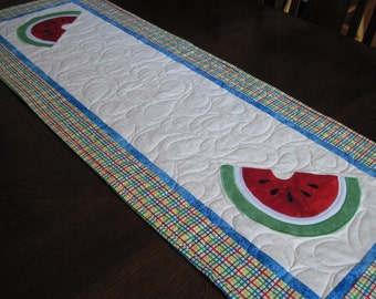 Watermelon Quilted Table Runner - Summer Table Runner in Bright Colors