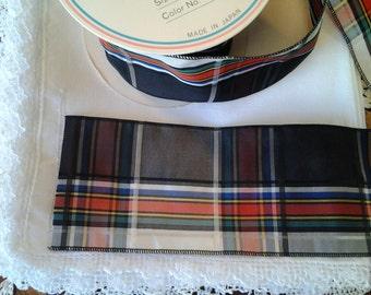 "Mokuba Ribbon - Black, Green, Red, Yellow, Blue, Creme, Charcoal Plaid 2 7/8"" wide"