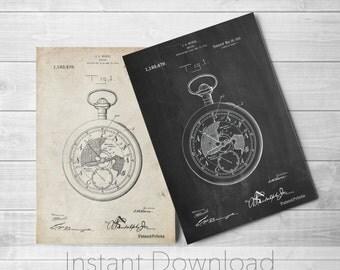 Pocket Watch Printables, Pocket Watch Vintage, Jewelry Art, Watch Art, PP0112