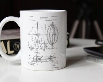 Aerial Vessel Patent Mug, Aircraft, Vintage Mug, Imagination, Kids Room Decor, PP0426