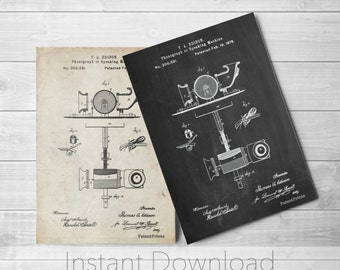 Edison Phonograph Printables, Thomas Edison, Music Room Wall Art, Record Player, Industrial Decor, Music Lover,PP0622