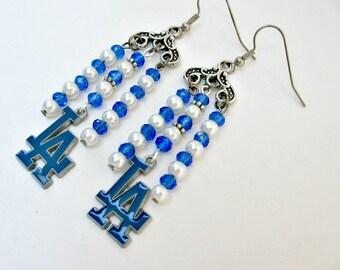 Los Angeles Dodgers, Baseball Jewelry, Dodgers Jewelry, LA Dodgers Jewelry, LA Dodgers Earrings, Dodgers Accessories, Dodgers Earrings,