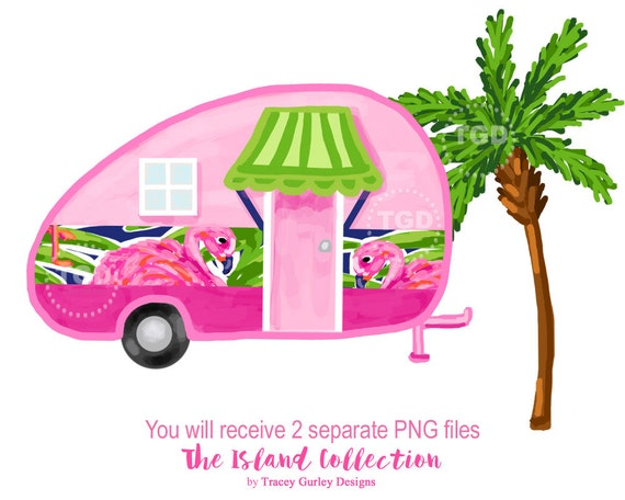 Glamping Vintage Camper Preppy Clip Art Clipart Tropical Palm Tree Pink Flamingo From TraceyGurleyDesigns On Etsy Studio