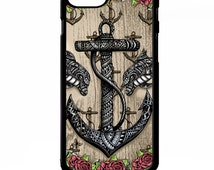 Anchor rose pretty girly dolphin flower tattoo symbol nautical print pattern graphic cover for iphone 4 4s 5 5s 5c 6 6 plus SE phone case