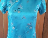 Vintage cerulean blue Chinese blouse size 12 made by Peony Shanghai China