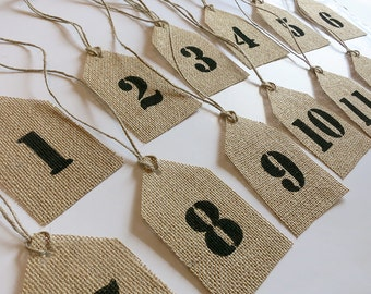 Burlap Table Numbers.Reception Table Numbers, Rustic Wedding, Wedding Table Numbers, Party Table Numbers