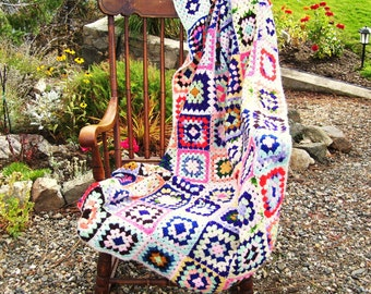 Handmade Crochet Granny Square Afghan AS IS Cutter Crafts or Repair