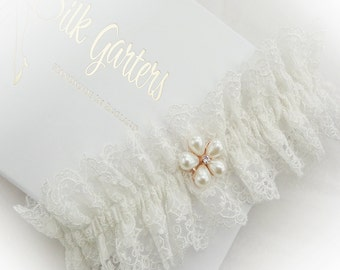 Filigree tulle lace wedding garter champagne or ivory