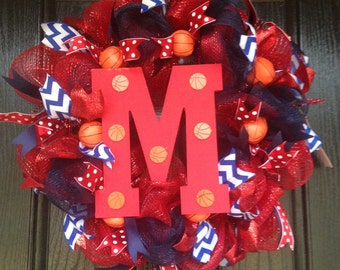 School spirit red and navy basketball initial deco mesh wreath