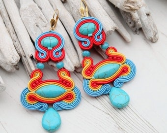 Long Turquoise Red Soutache Earrings-Large Ethnic Earring-Oriental Chandelier Statement Earrings-Dangle Beaded Earrings-Hippie Boho Earrings
