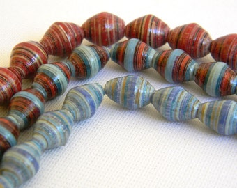 Paper Bead Jewelry Supplies - Paper Beads - Hand painted - Lot of 30 - #B405