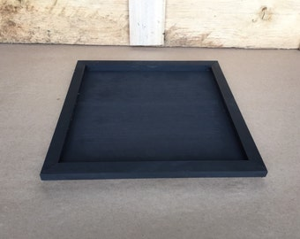 "12.25"" Large Square Black Wooden Tray"