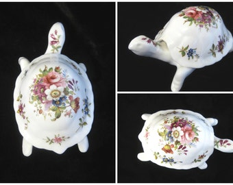 Hammersley China Tortoise Trinket Box, Howard Sprays, Signed F Howard, Pretty Floral Design, Original Box