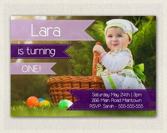 St Birthday Invitation Purple And Aqua Girls Purple - 1st birthday invitations girl purple