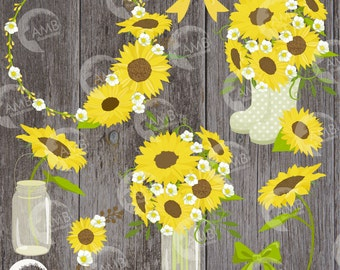 Sunflower clipart, Wedding clipart, shabby chic, sunflowers, country wedding, country party, mason jar, sunflower clipart, AMB-1416