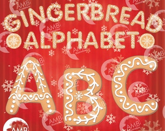 Christmas Alphabet Clipart, Gingerbread Cookie Alphabet Clip Art, Letters A to Z, Commercial Use, Instant Download, AMB-1491
