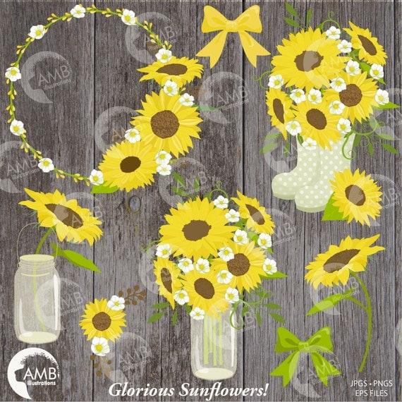Sunflower clipart Wedding clipart shabby chic sunflowers