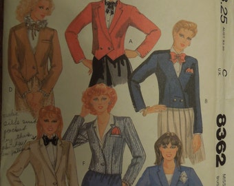 McCalls 8362, size 8, lined jacket, misses, womens, UNCUT sewing pattern, craft supplies
