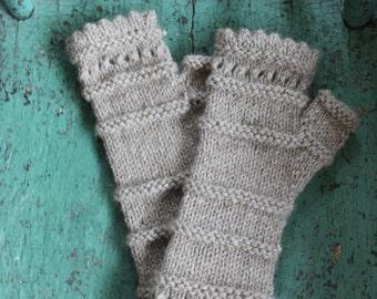 Fingerless gloves, hand knit - Alpaca, natural alpaca