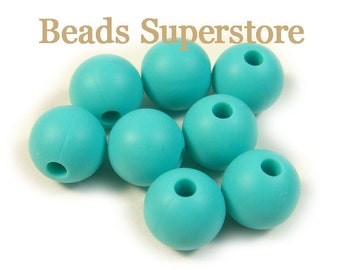 SALE 9 mm Turquoise Silicone Round Bead - Food Grade Teething Baby Bead- Teething Necklace Silicone Bead - 10 pcs (9ROU07)