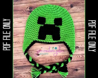 Minecraft Creeper Hat Crochet Pattern *** PDF FILE ONLY