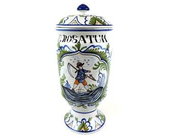 French Vintage Apothecary Jar U. Rostatum/ French Ceramic Pharmacy Pot U.Rostatum/French Pharmacy Jar