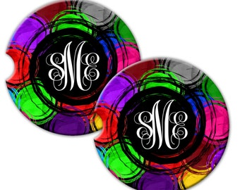 Custom Personalized With Monogram Swirl Sandstone Car Coaster Set Of Two -  Free Standard Shipping