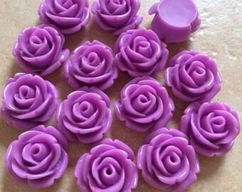 10 pcs 14 mm Purple cabochon Flower,Purple rose flower,purple Rose cabochon,purple rose cabochon,resin flower,orchid rose cabochon flower