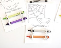 Halloween Favor Coloring Cards-set of 3
