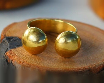 Boho Orb Open Ring, Boho Open Ring, Gold Open Ring, Adjustable Open Ring, Gift for Her, Free shipping