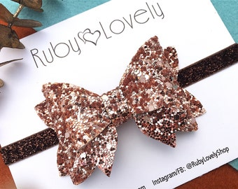 Gold Glitter Bow,  Rose Gold Glitter Bow, Birthday Bows, Fall Headband, Baby Bows, Sparkle Bow, Gold Headband,