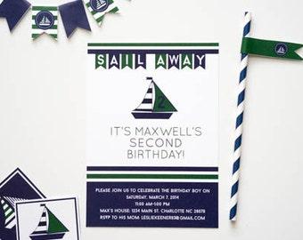 Navy and Green Sailboat Nautical Printable Party Invitation, Navy and Green Sailboat Invitation, Customizable Nautical Party Invitation