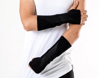 Futuristic arm warmers jersey cyberpunk fingerless gloves  -N-ARW Q5