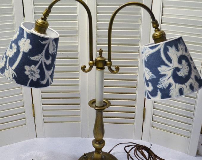 Vintage Brass Table Desk Lamp 2 Arm Accent Lighting Panchosporch