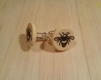 Bumblee Bee Wooden Cufflinks