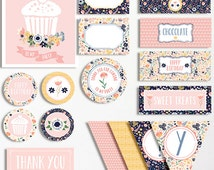 Girls Birthday Flower Garden Party Printable Pack Bunting Candy Wrappers Sign Card Bottle Labels Pink Yellow Blue 1st 2nd 3rd 4th 5th Floral