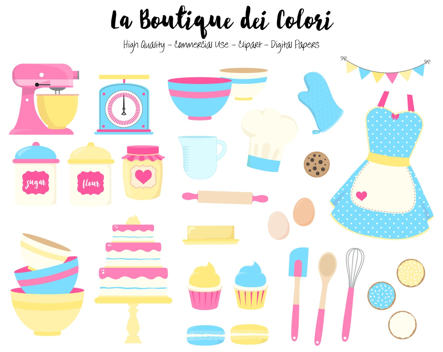 Yellow and Blue Baking Clipart, Cute Digital Graphics PNG ...
