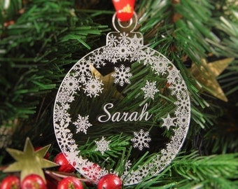 Personalised Christmas Tree Decoration Engraved Bauble Gift - Snow Bauble - snow_name
