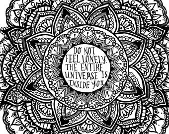 Universe Rumi Quote 8.5x11 ink drawing, card-stock print